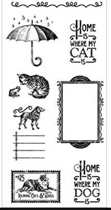 Graphic 45 Cling Stamps - Raining Cats and Dogs Set 3