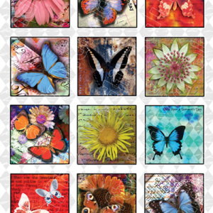 Crafty Individuals  A4 Glossy Sheet - Butterflies and Flowers