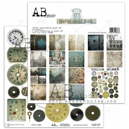 AB Studio Behind Closed Doors Double Sided 12x12 Paper Collection