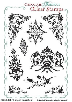 Chocolate Baroque - Fancy Flourishes Unmounted Clear Stamp Set
