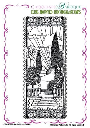"""Chocolate Baroque Single """"Garden Lace Scene"""" Cling Stamp"""