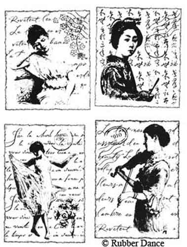 Rubber Dance Art Stamps - Women Collage Unmounted Plate