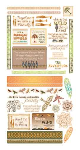 Couture Creations Wild and Free Die Cut Ephemera Pack