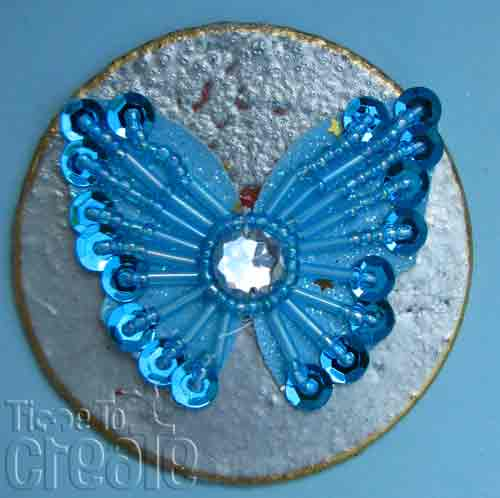 Jewelled Butterfly Medallion - Blue