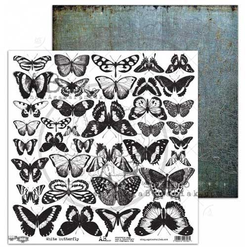 "AB Studio Elements ""White Butterfly"" 12x12 Double Sided Paper"
