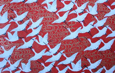 G016 Yuzen Paper - White Cranes on a Red Background