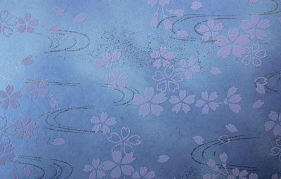 G017 Yuzen  Pale Pink Blossoms on Lilac Background
