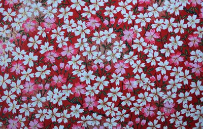 G021 Yuzen Paper - Red, Pink & White Floral