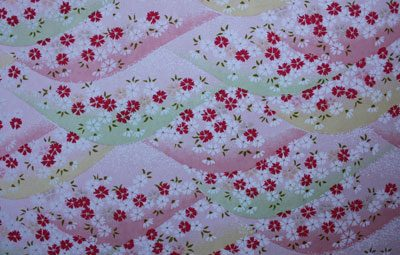 G022 Yuzen Paper - Hills with Pink Flowers