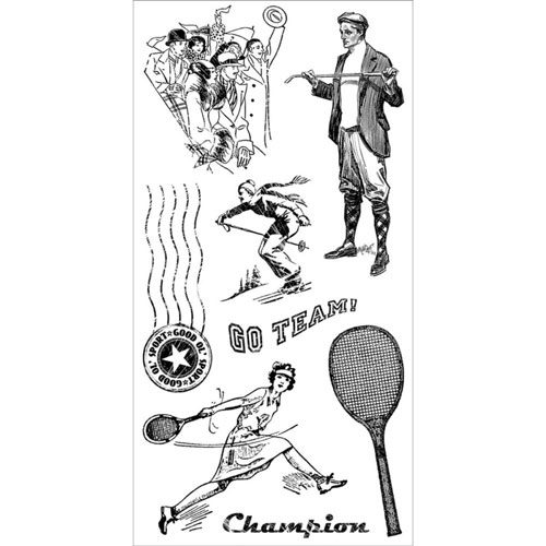 Graphic 45 Good 'Ol Sport Cling Mounted Stamp Set 3