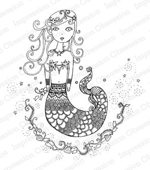 Impression Obsession - Mermaid Cling Rubber Stamp