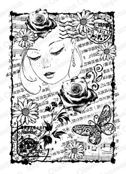 Impression Obsession - Daisy Collage Cling Rubber Stamp