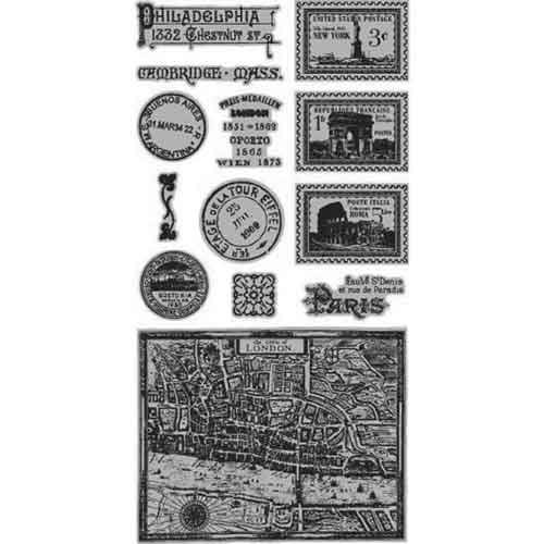 Graphic 45 Cityscapes Cling Stamps - Set 2
