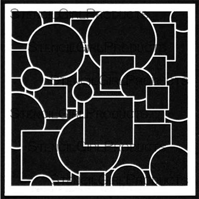 Stencil Girl - Doodle It Layered Circles and Squares 6X6 Stencil