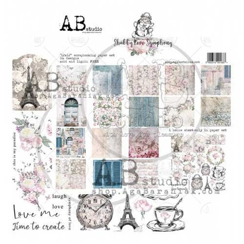 """AB Studio """"Shabby Love Symphony"""" 12xx12 Double Sided Paper Collection"""