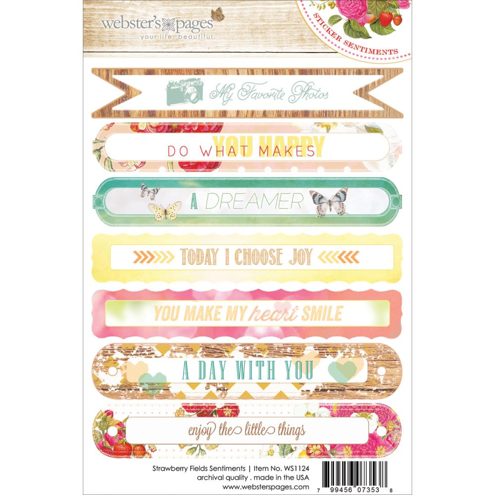 Webster's Pages Strawberry Fields Sentiment Sticker Sheet